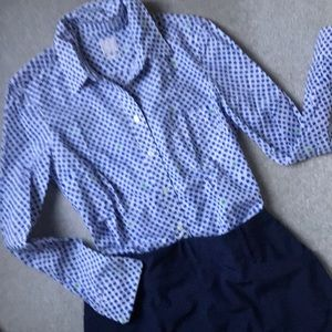 Gap polka dot button down shirt, fitted boyfriend